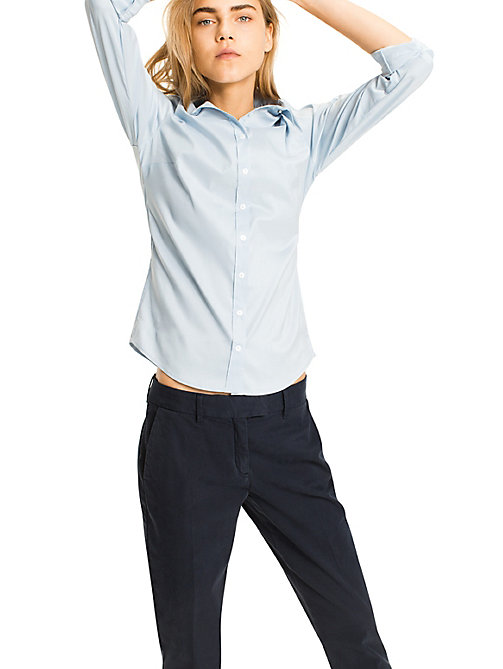 TOMMY HILFIGER Stretch Cotton Shirt - SHIRT BLUE - TOMMY HILFIGER Basics - main image