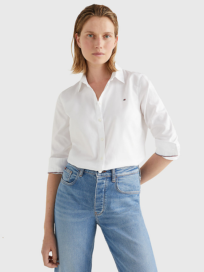 camicia heritage oxford regular fit bianco da donna tommy hilfiger