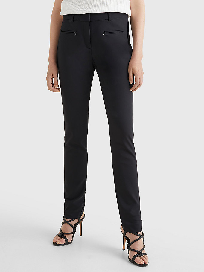 black heritage slim fit trousers for women tommy hilfiger