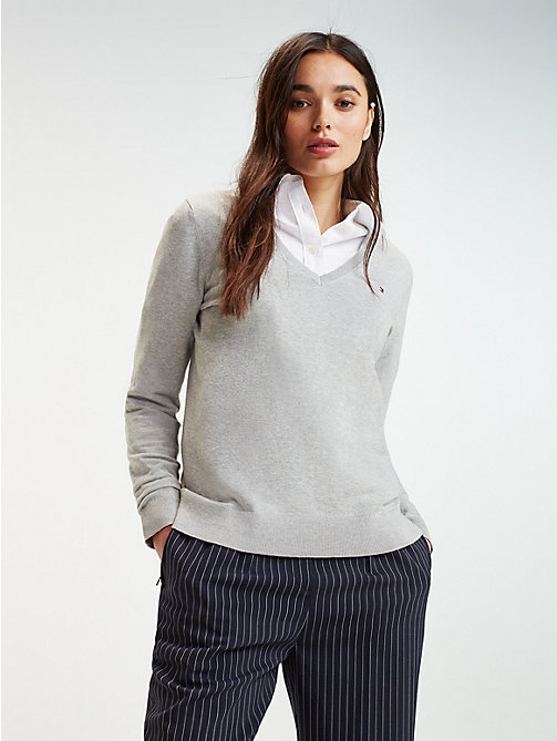 TOMMY HILFIGER Fine Knit V-Neck Jumper - LIGHT GREY HTR - TOMMY HILFIGER Jumpers - main image