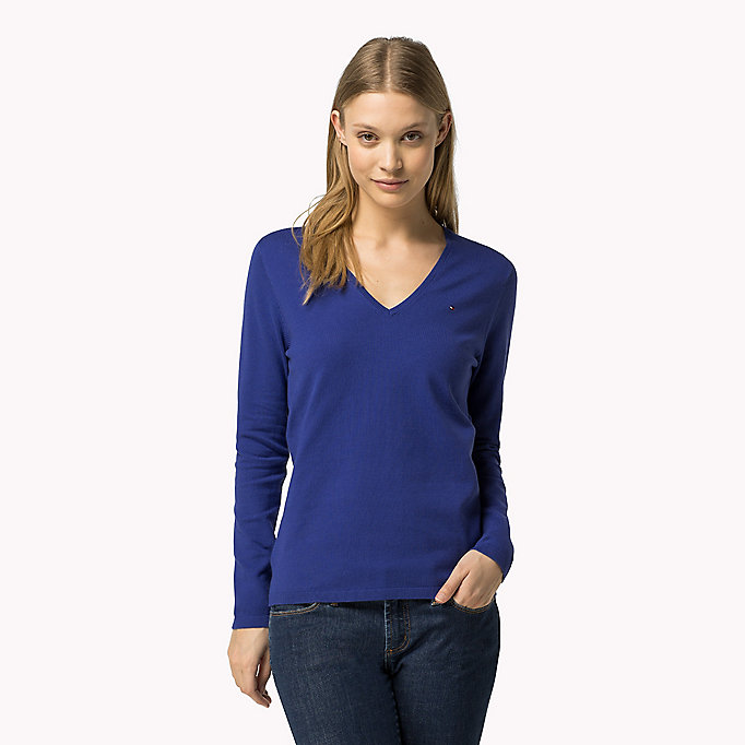 TOMMY HILFIGER Classic Fitted Jumper - CHAMBRAY BLUE - TOMMY HILFIGER Women - main image