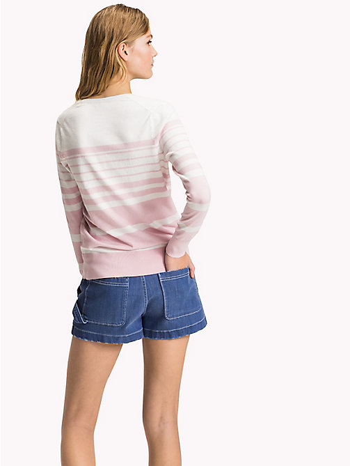TOMMY HILFIGER Fine Knit V-Neck Jumper - ORCHID PINK / SNOW WHITE - TOMMY HILFIGER Jumpers - detail image 1