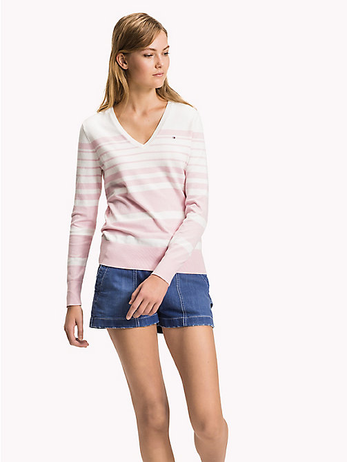TOMMY HILFIGER Fine Knit V-Neck Jumper - ORCHID PINK / SNOW WHITE - TOMMY HILFIGER Jumpers - main image