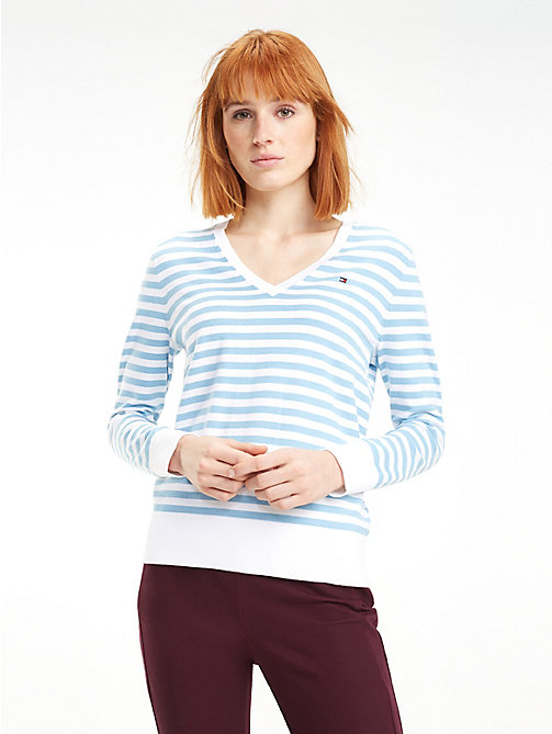TOMMY HILFIGER Fine Knit V-Neck Jumper - DUSK BLUE / SNOW WHITE STP - TOMMY HILFIGER Jumpers - main image