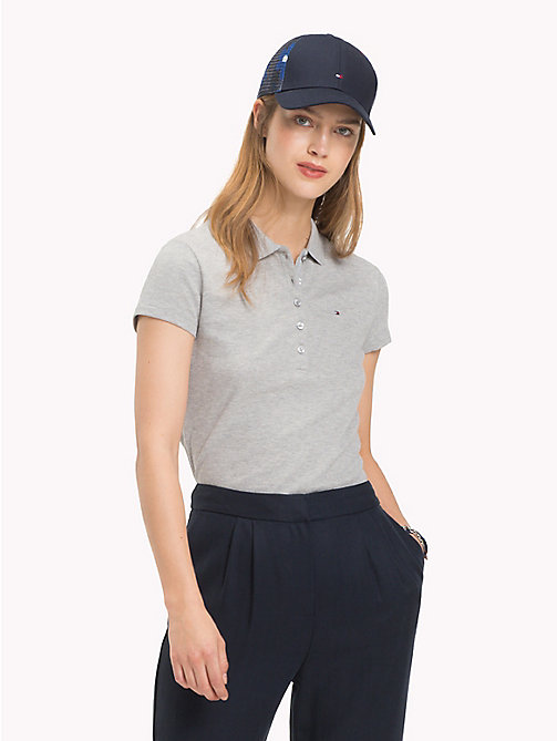 TOMMY HILFIGER Fitted Polo Shirt - LIGHT GREY HTR - TOMMY HILFIGER Polo Shirts - main image