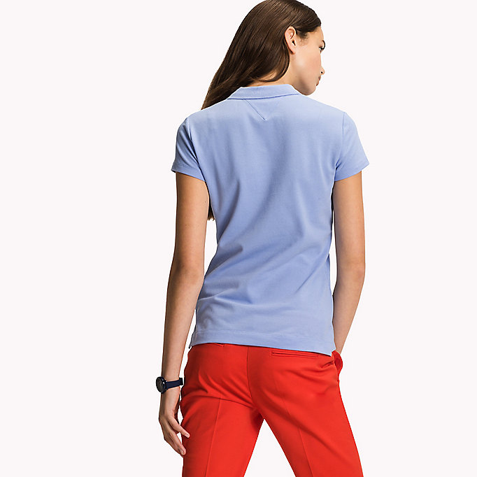 TOMMY HILFIGER Slim Fit Polo - LIGHT GREY HTR / SNOW WHITE - TOMMY HILFIGER Women - detail image 1