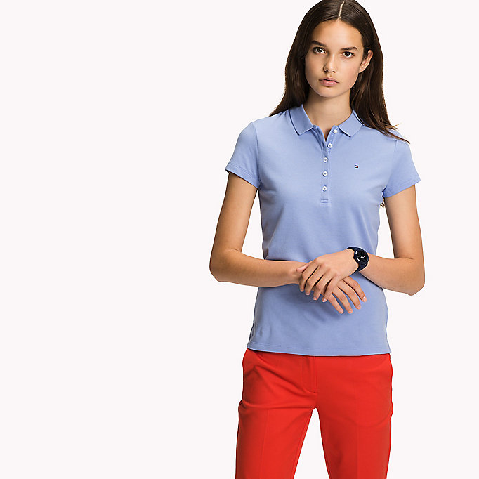 TOMMY HILFIGER Slim Fit Polo - LIGHT GREY HTR / SNOW WHITE - TOMMY HILFIGER Women - detail image 3
