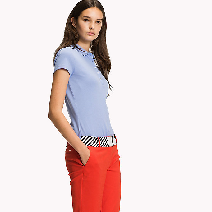 TOMMY HILFIGER Slim Fit Polo - LIGHT GREY HTR / SNOW WHITE - TOMMY HILFIGER Women - main image