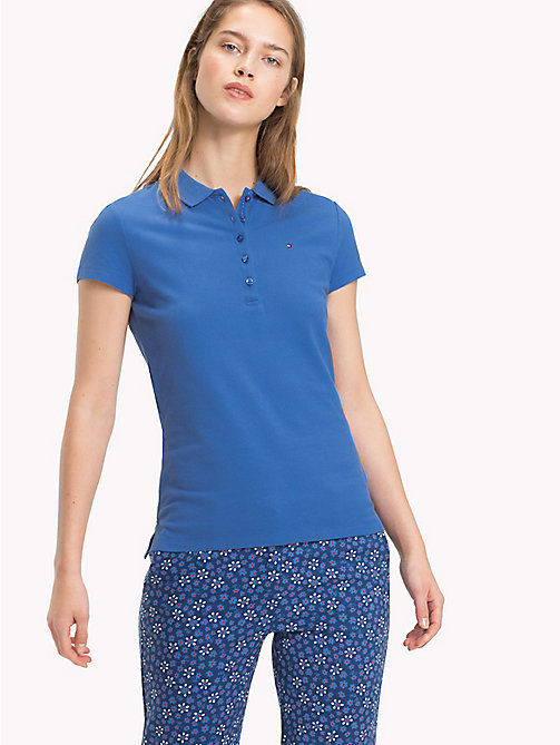 TOMMY HILFIGER Fitted Polo Shirt - BRIGHT COBALT - TOMMY HILFIGER Polo Shirts - main image