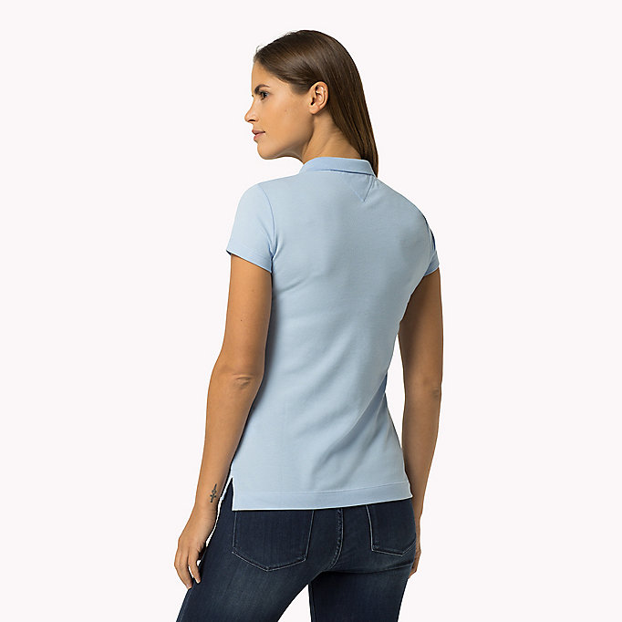 TOMMY HILFIGER Slim Fit Polo - KENTUCKY BLUE / SNOW WHITE - TOMMY HILFIGER Women - detail image 1