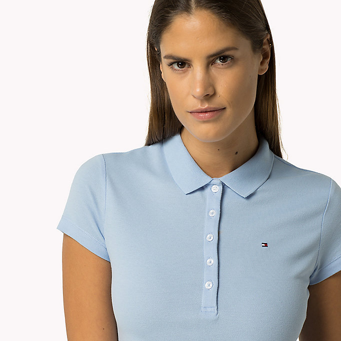 TOMMY HILFIGER Slim Fit Polo - KENTUCKY BLUE / SNOW WHITE - TOMMY HILFIGER Women - detail image 2