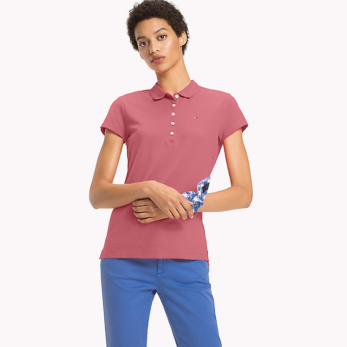 TOMMY HILFIGER Slim Fit Polo - KENTUCKY BLUE / SNOW WHITE - TOMMY HILFIGER Women - main image