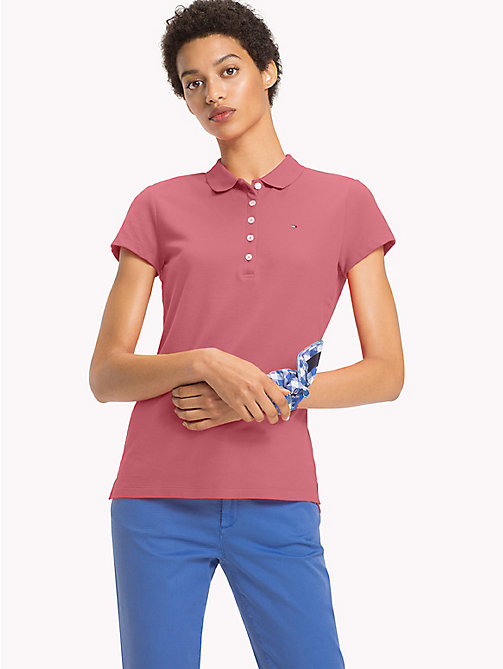 TOMMY HILFIGER Fitted Polo Shirt - BUBBLEGUM - TOMMY HILFIGER Clothing - main image