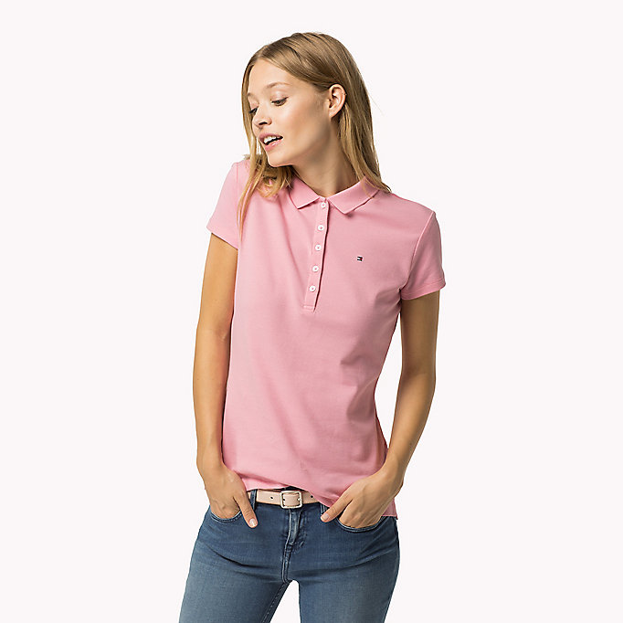 TOMMY HILFIGER Slim Fit Polo - FLAME SCARLET - TOMMY HILFIGER Women - main image