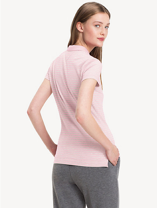 TOMMY HILFIGER Fitted Polo Shirt - ORCHID PINK / CLASSIC WHITE - TOMMY HILFIGER Polo Shirts - detail image 1