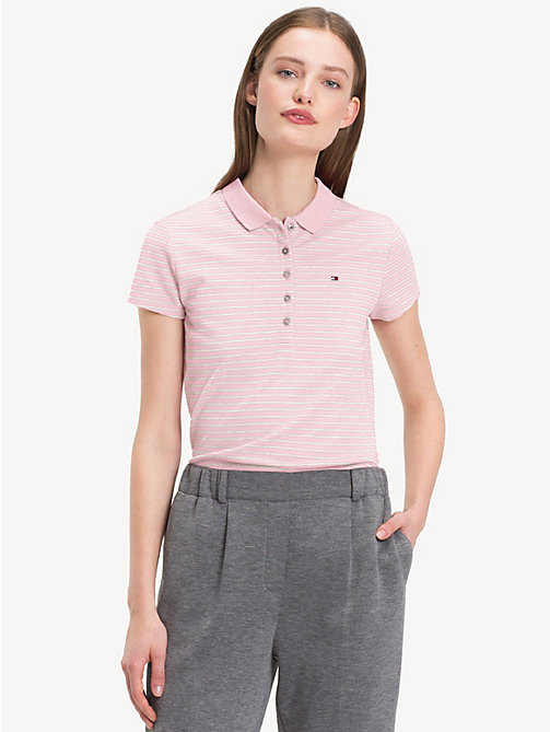 TOMMY HILFIGER Fitted Polo Shirt - LIGHT GREY HTR / SNOW WHITE - TOMMY HILFIGER Clothing - main image