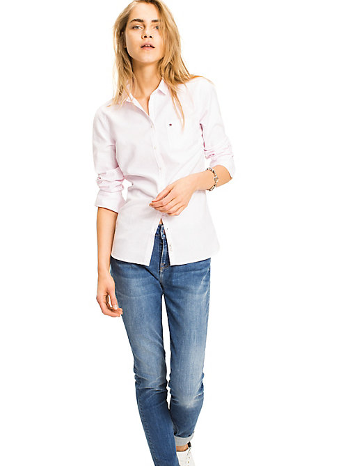 TOMMY HILFIGER All Over Stripe Shirt - LIGHT PINK / CLASSIC WHITE STRIPE - TOMMY HILFIGER Basics - main image