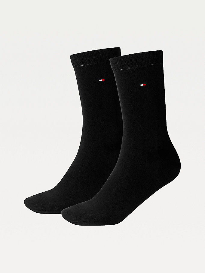 black 2-pack stretch cotton blend socks for women tommy hilfiger