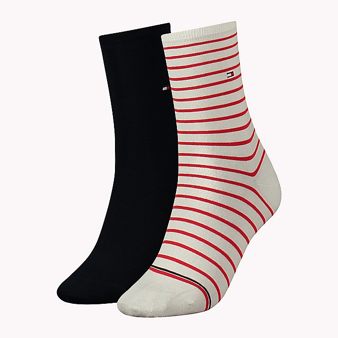TOMMY HILFIGER 2 Pack Striped Socks - RED / NAVY - TOMMY HILFIGER Women - main image