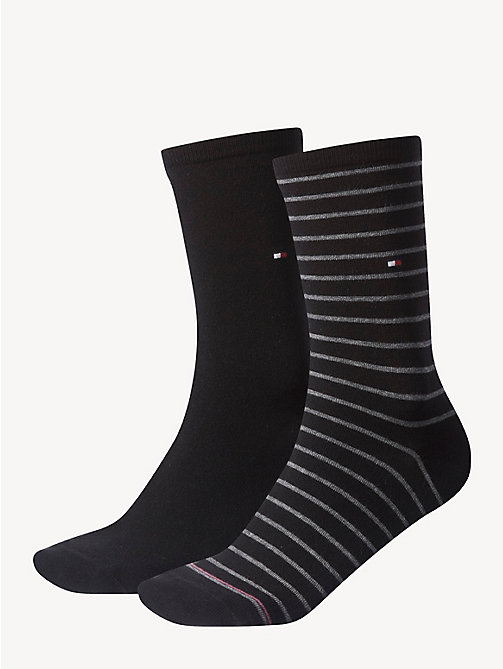 TOMMY HILFIGER 2 Pack Striped Socks - BLACK - TOMMY HILFIGER Socks & Hosiery - main image