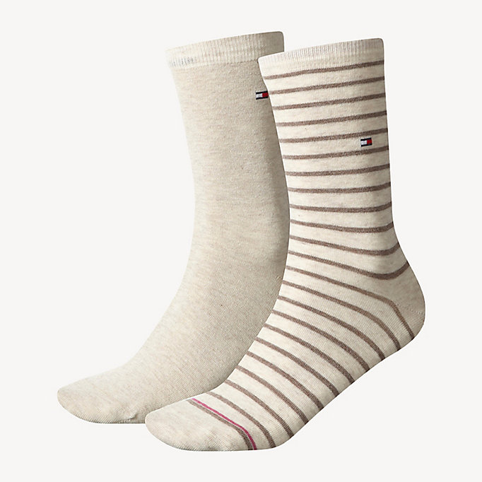 TOMMY HILFIGER 2 Pack Striped Socks - MIDDLE GREY MELANGE - TOMMY HILFIGER Women - main image