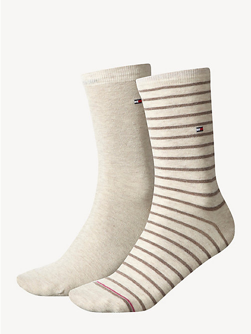 TOMMY HILFIGER 2 Pack Striped Socks - LIGHT BEIGE MELANGE - TOMMY HILFIGER Socks & Hosiery - main image