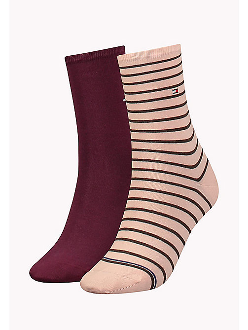 TOMMY HILFIGER 2 Pack Striped Socks - SILVER PINK - TOMMY HILFIGER Socks & Hosiery - main image
