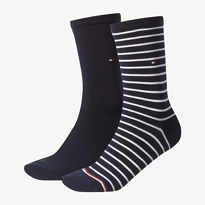TOMMY HILFIGER 2 Pack Striped Socks - BLACK - TOMMY HILFIGER Women - main image