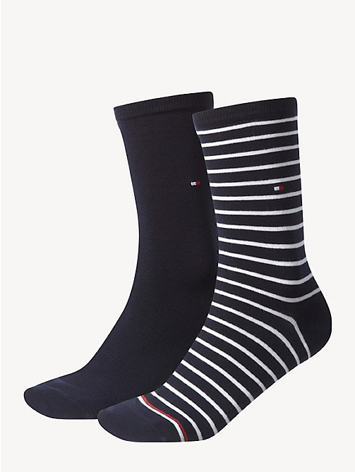 TOMMY HILFIGER 2 Pack Striped Socks - MIDNIGHT BLUE - TOMMY HILFIGER Socks & Hosiery - main image