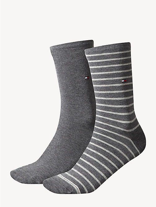 TOMMY HILFIGER 2 Pack Striped Socks - MIDDLE GREY MELANGE - TOMMY HILFIGER Socks & Hosiery - main image