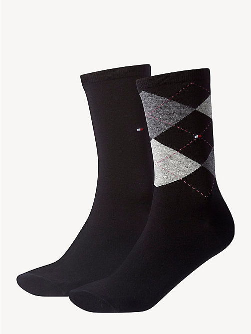 TOMMY HILFIGER 2-Pack Cotton Blend Socks - BLACK - TOMMY HILFIGER Socks & Hosiery - main image