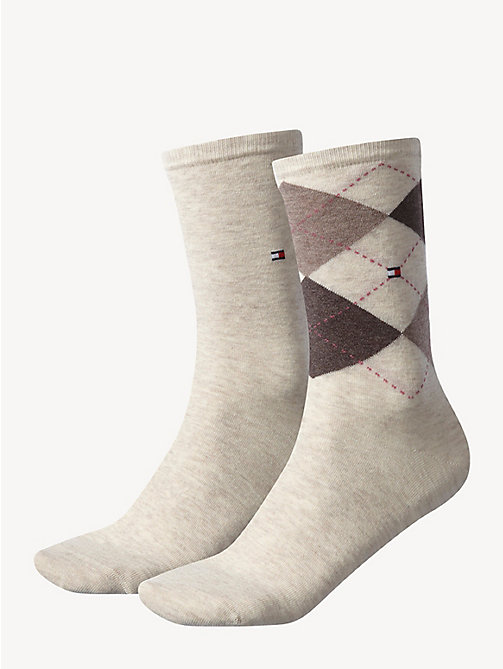 TOMMY HILFIGER 2-Pack Cotton Blend Socks - LIGHT BEIGE MELANGE - TOMMY HILFIGER Socks & Hosiery - main image