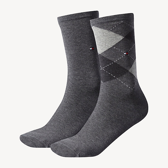 grey 2-pack women's diamond check socks for women tommy hilfiger