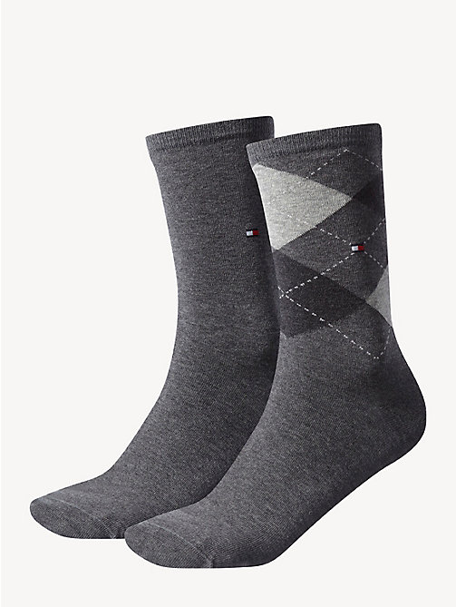 TOMMY HILFIGER 2-Pack Cotton Blend Socks - MIDDLE GREY MELANGE - TOMMY HILFIGER Socks & Hosiery - main image