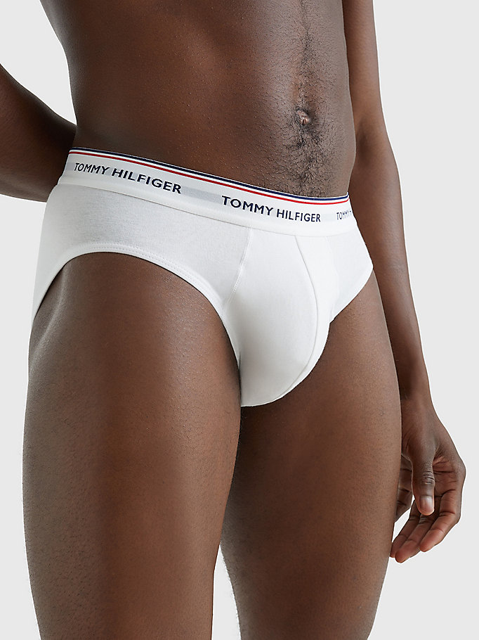 TOMMY HILFIGER 3-Pack Cotton Briefs - SMOKED PEARL/VIVID BLUE/PEACO - TOMMY HILFIGER Men - detail image 5