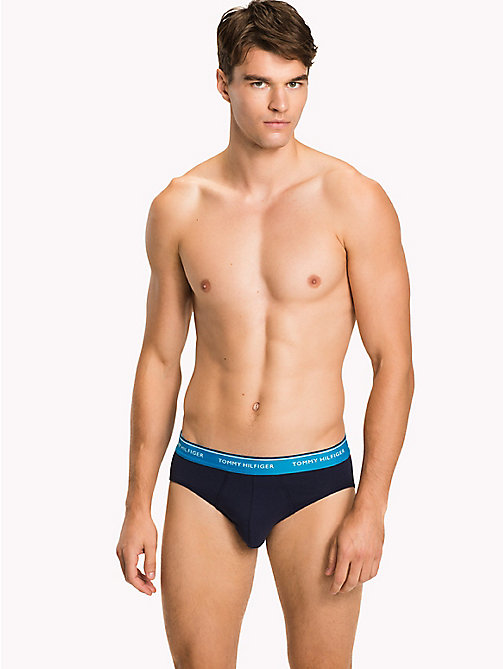 TOMMY HILFIGER 3 Pack Branded Cotton Knickers - SMOKED PEARL/VIVID BLUE/PEACO - TOMMY HILFIGER Underwear & Swimwear - main image