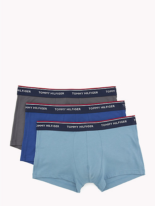 TOMMY HILFIGER 3-Pack Low Rise Trunks - BLUE HVN/ MZE BLUE/ IRON GATE - TOMMY HILFIGER Packs - main image