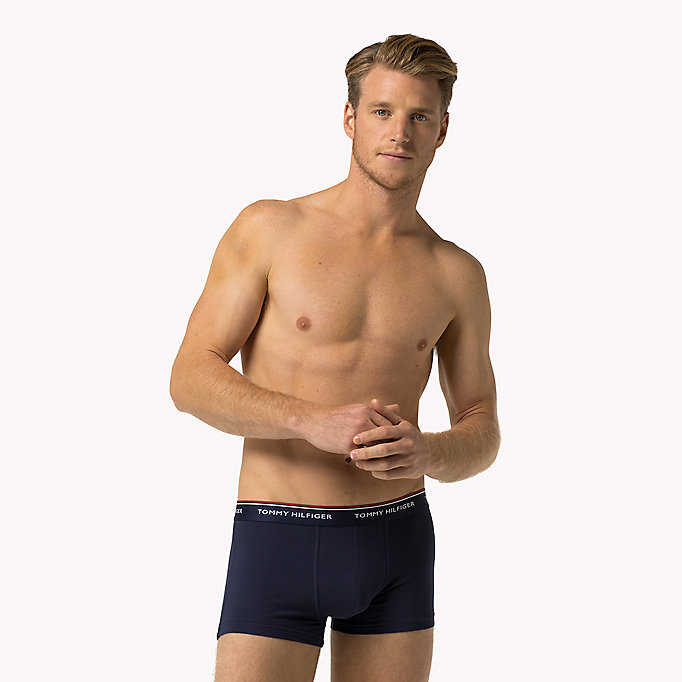 TOMMY HILFIGER 3-Pack Low-Rise Cotton Trunks - SMOKED PEARL/VIVID BLUE/PEACO - TOMMY HILFIGER Men - detail image 4