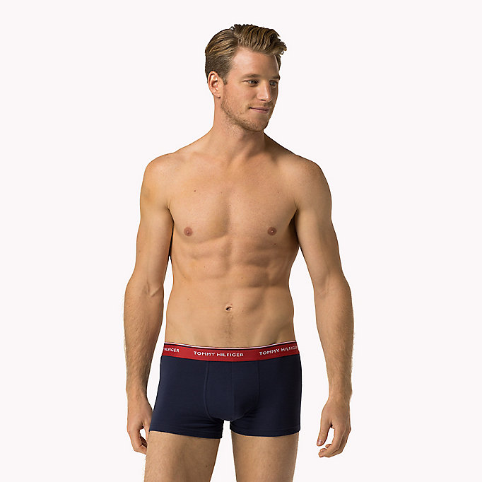 TOMMY HILFIGER 3-Pack Low-Rise Cotton Trunks - SMOKED PEARL/VIVID BLUE/PEACO - TOMMY HILFIGER Men - main image