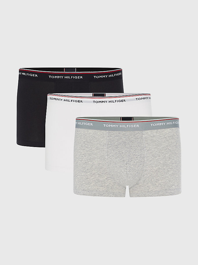 grey 3-pack stretch cotton trunks for men tommy hilfiger