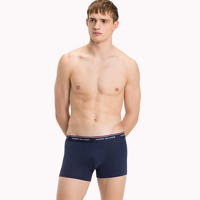TOMMY HILFIGER 3-Pack Cotton Trunks - CHAMBRAY BLUE/PEACOAT/DEEP SEA CORAL - TOMMY HILFIGER Men - detail image 1