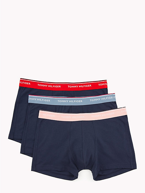 TOMMY HILFIGER 3-Pack Stretch Cotton Trunks - FD DENIM/FIERY ROSE/BLSM(PEACOAT) - TOMMY HILFIGER Packs - main image