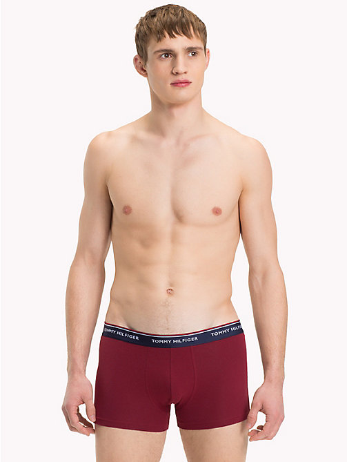 TOMMY HILFIGER 3 Pack Cotton Boxer Shorts - POMEGRANATE/PEACOAT/BLACK - TOMMY HILFIGER Packs - detail image 1