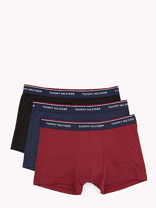 TOMMY HILFIGER 3 Pack Cotton Boxer Shorts - POMEGRANATE/PEACOAT/BLACK - TOMMY HILFIGER Packs - main image