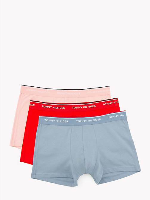 TOMMY HILFIGER 3-Pack Stretch Cotton Trunks - FADED DENIM/FIERY ROSE/BLOSSOM - TOMMY HILFIGER Packs - main image