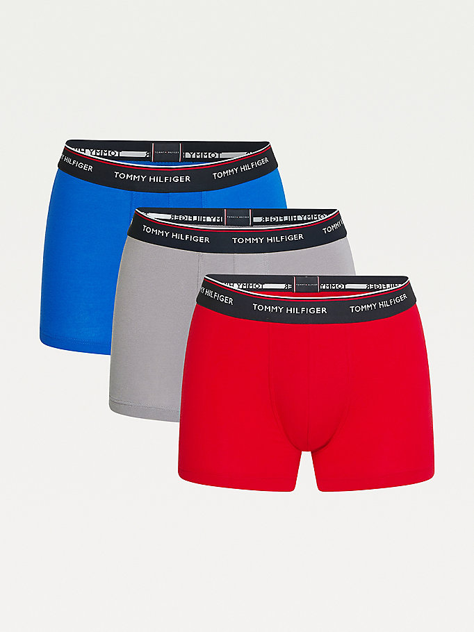 black 3-pack stretch cotton trunks for men tommy hilfiger