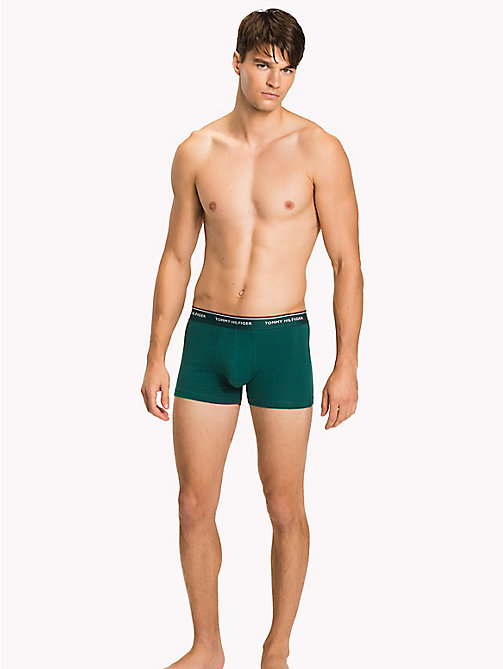 TOMMY HILFIGER 3-Pack Cotton Trunks - BAYBERRY/MALIBU BLUE/PEACOAT -  Three Packs - main image