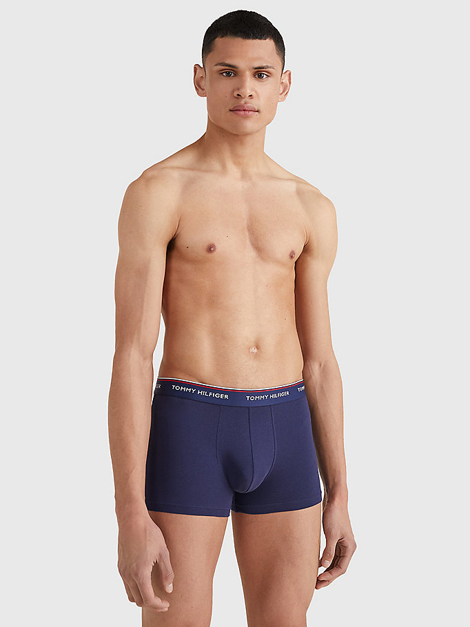 TOMMY HILFIGER 3-Pack Cotton Trunks - BLACK BODY - VISTA BLUE / DAPHNE / PEACO - TOMMY HILFIGER Men - detail image 2