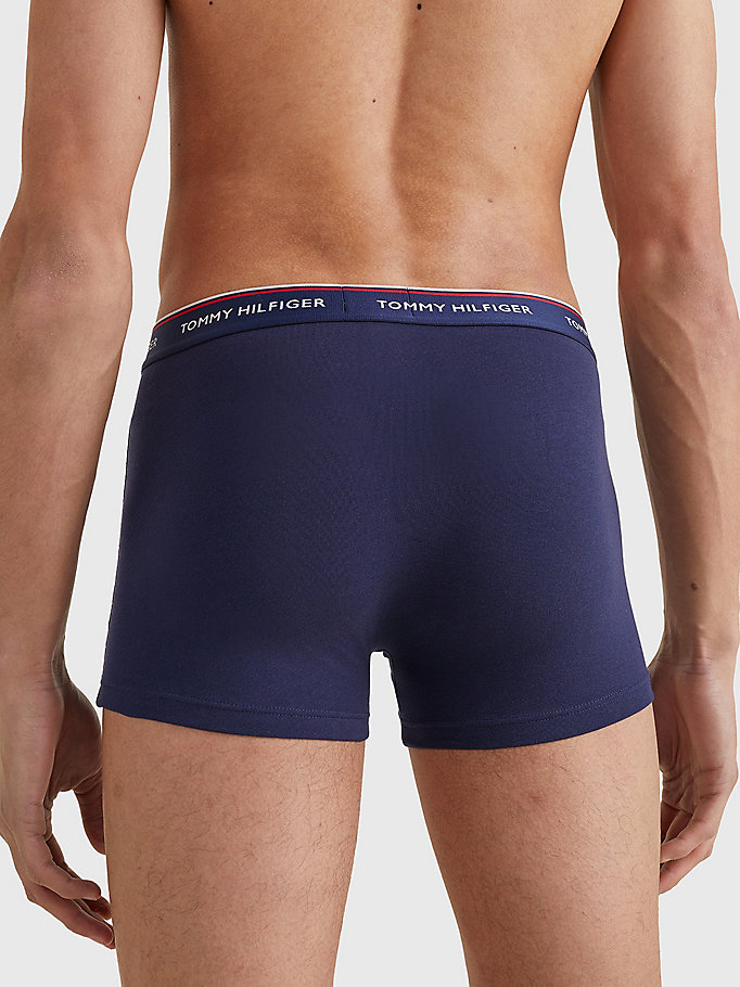 TOMMY HILFIGER 3-Pack Cotton Trunks - BLACK BODY - VISTA BLUE / DAPHNE / PEACO - TOMMY HILFIGER Men - detail image 3
