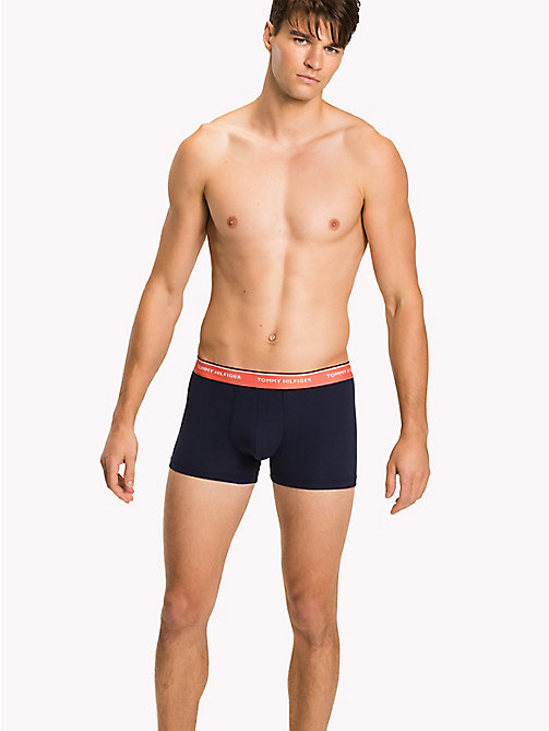 TOMMY HILFIGER 3-Pack Cotton Trunks - DEEP SEA CORAL/CHAMBRAY BUE/PEACOAT(PEAC - TOMMY HILFIGER Three Packs - main image